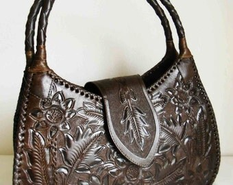 A -50% OFF on last piece! Brown big leather bag! Mexican Design! Hand made!