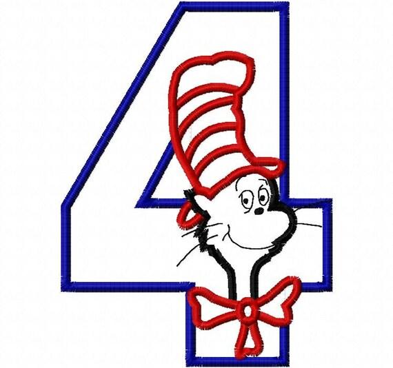 Cat Fourth Birthday Applique Design Machine Embroidery Design 4x4 and 5x7