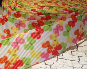 "3 yards 1"" Preppy SPRING BUTTERFLIES Grosgrain Ribbon"