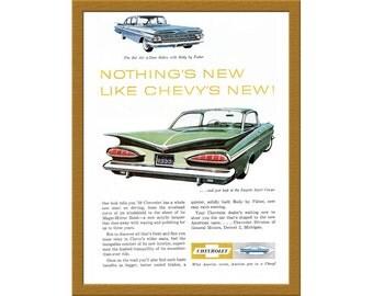 "1957 Chevrolet Car Color Print AD / Bel Air 4-door Sedan & Impala Sport Coupe / 6"" x 9"" / Original Print Ad / Buy 2 ads Get 1 FREE"