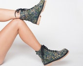 LDC Shoes - Bootsy - Unique Limited Custom Made - Women's Booties - Handmade Printed - Green/Yellow -  www.ldcshoes.com