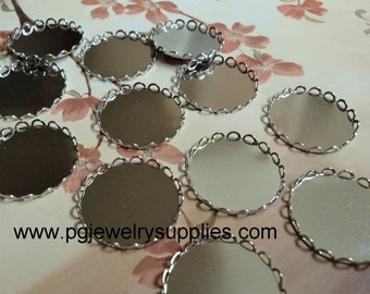22mm round silver tone cameo cab closed back settings 12 pieces