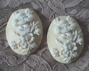 40x30 oval flower floral white lemon resin cameos 2 pcs