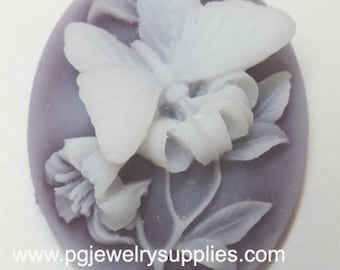 40mm x 30mm oval butterfly mauve resin cameos 2 pc lot l X N