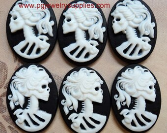 18mm x 13mm lolita skeleton skull resin cameos white black RL 6 pieces lot l