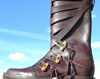 VIKING LEATHER SHOES Varyag Boots Replica Vikings Earle Medieval Middle Ages