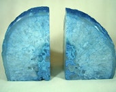 Teal Blue Agate Quartz Crystal Bookend Pair, Blue Bookends - NaturalArtWorld