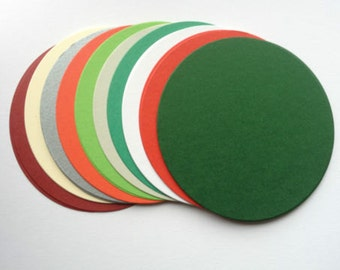 20 large Christmas Circle Oval die cuts for matting layering cards toppers cardmaking scrapbooking