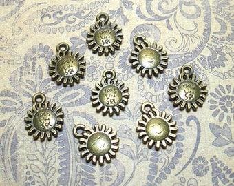 8 Sun Charms,  12mm Bronze Sun Charms, Sun Charm, Sun Pendants, Sol Charms, Sol Charm, Sol Pendant, Sun Charm, Nature Charms BC0026