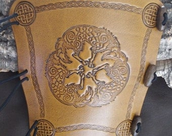 Embossed Celtic Wolves, wolf, leather archery arm guard,  bow bracer, armguard, larp, pagan
