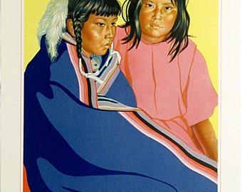 1947 Blackfeet Indian portrait * Spopela And Mamela * Glacier National Park * Great Northern Railway Company Print