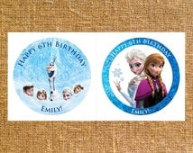"""Customized Frozen Birthday Party Round Favors - 2"""" or 2.5"""" - Digital File"""