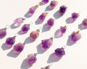 GH066 Raw Amethyst Point Pendant, Amethyst Druzy Pendant with Silver  or 24k Gold Wire Wrapped