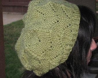 green, chevron-patterned hat