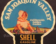 Shell Gasoline 1920s Travel Decal Magnet for SAN JOAQUIN VALLEY Accurately Reproduced & hand cut in shape as designed. Nice Travel Decal Art