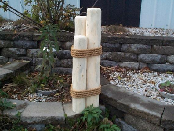Nautical piling or pier lawn ornament cedar garden decor wooden yard