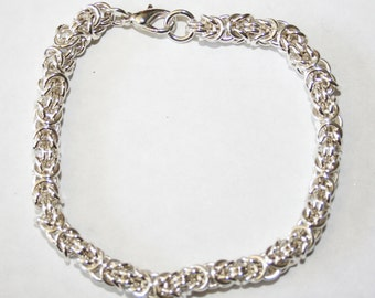 Handmade Sterling Silver Chainmaille or Chain Maille 19 gauge Byzantine Weave Bracelet