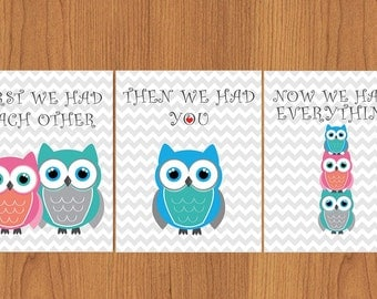 First We Had Each Other Then We Had You Now We Have Everything Teal Grey Blue Owls Nursery Wall Art Decor Print 8x10 Set of 3 (48b)