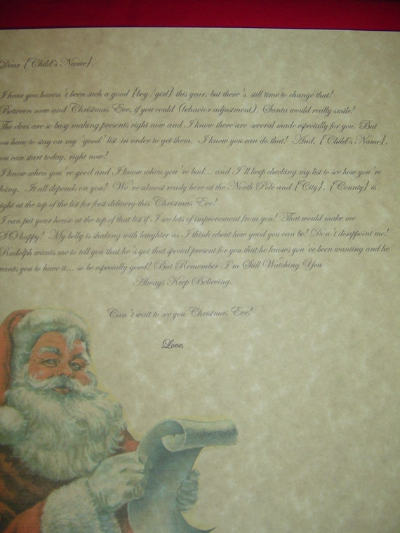 Personalized naughty letter from santa by angeliccoordination for Personalized letter from santa with reindeer food