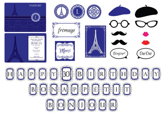 Parisian Theme Printable Package-French Themed Party Package-Paris ...
