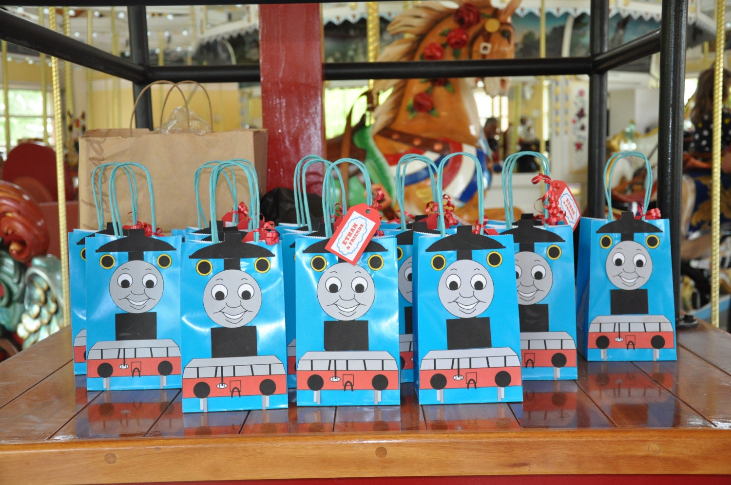 thomas the train party favor bags personalized by srdesserts. Black Bedroom Furniture Sets. Home Design Ideas