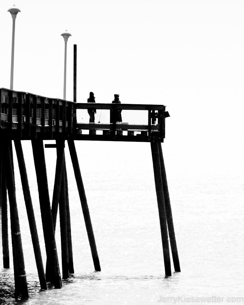 Ocean city maryland fishing pier black and white photo for Maryland fishing piers