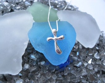 Sterling Silver Bubble Cross Necklace
