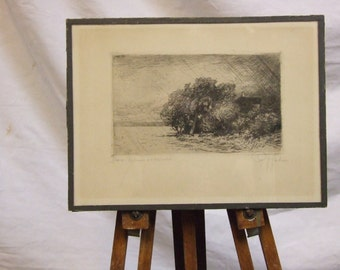 Peter Halm original etching print Storm by  German artist picture  искусство одарок
