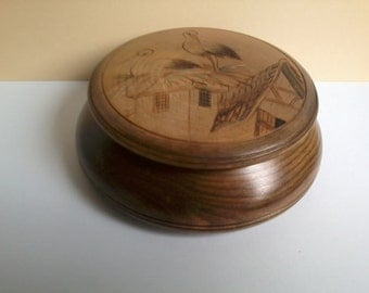 vintage wooden small box with lid decorated