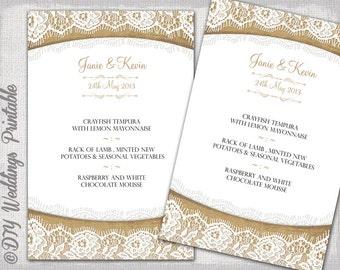 "Rustic Wedding menu template ""Burlap & Lace"" wedding menu DIY Ecru wedding menu template digital printable menu 2 sizes Tea and 5x7 download"