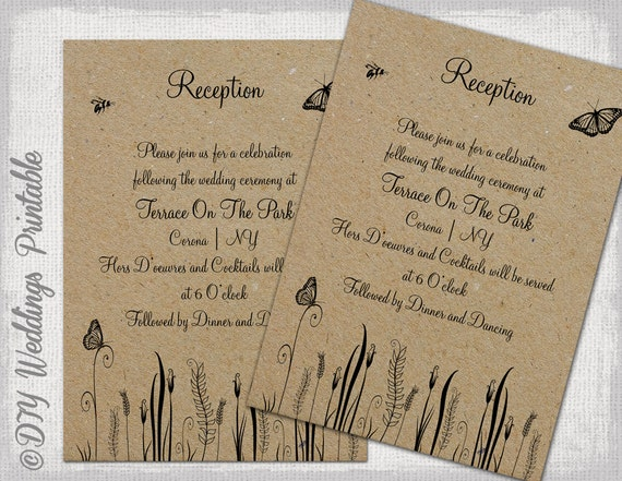 Reception Invitation Template Rustic Diy Printable