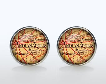 Indianapolis map Cufflinks Silver plated Indianapolis vintage map Cuff links men and women Accessories Antique black brown red green