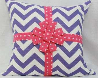 Purple & pink decorative throw pillow cover with bow. 18 x 18 girl's teen pillow. nursery pillow. children's pillow. Gift pillow.