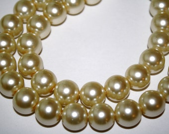 14mm Ivory Gold Glass Pearls