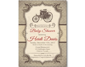 Vintage Car Baby Shower Invitation. Retro Baby Boy Shower Invite. Formula one racing. Any custom color. DIY digital printable.