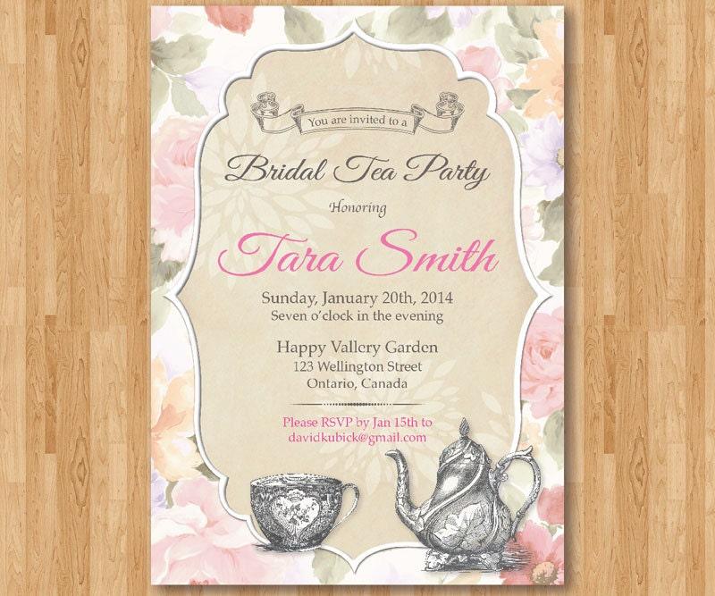 Tea Party Bridal Shower Invitation Printable Bridal Tea Wedding – Tea Party Wedding Shower Invitations