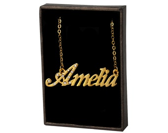 Name Necklace Amelia - Gold Plated 18ct Personalised Necklace with Czech Crystals