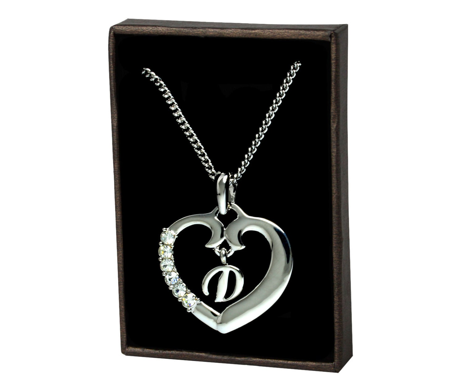 gold heart initial necklace d white gold initial. Black Bedroom Furniture Sets. Home Design Ideas