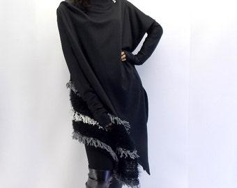 Black Asymmetrical Cardigan / Asymmetric Jacket Carrdigan / Black Jacket Cardigan / Women Cardigan TC07