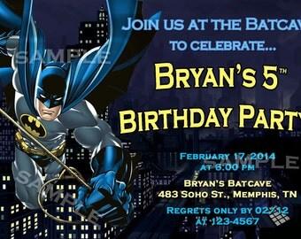 Batman Custom Birthday Party Invitations