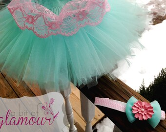 Mint Blue Tutu with Pink Lace Trim / Matching Bow INCLUDED / Made to Order