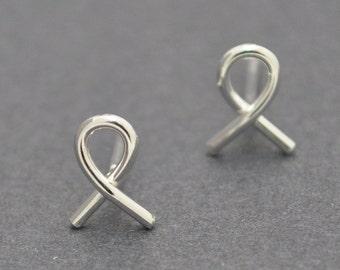 Sterling Silver Studs, Ribbon Studs, Wire Earrings, Wire Studs