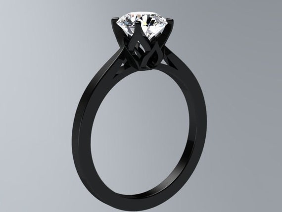 Black Gold Engagement Ring Round Brilliant White Topaz Ring