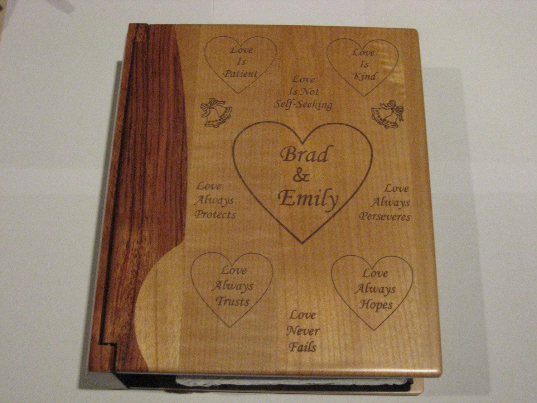 engraved wood personalized photo album wedding. Black Bedroom Furniture Sets. Home Design Ideas