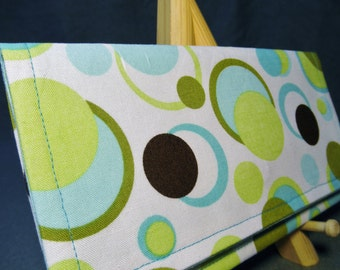 Fabric Wallet - White with Teal, Green and Brown Circles