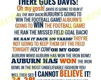 Auburn vs Alabama Radio Call State Outline - White Background
