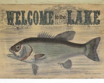 "Wood ""Welcome to the Lake"" Welcome Sign - Shabby Chic Cabin Decor - Great Father's Day Gift for Dad!"
