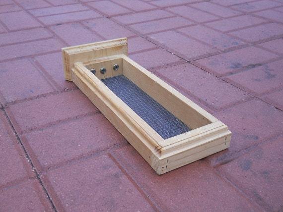 Deck mounted wood bird feeder