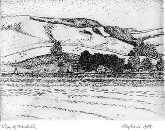 View of Marshall -  Etching & Engraving, Hand-printed original print