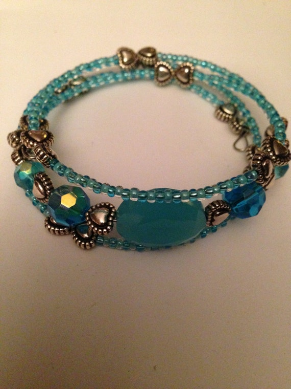 items similar to beaded memory wire bracelet on etsy
